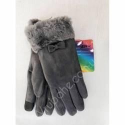 Перчатки женские трикотаж на меху оптом-47672