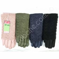 Перчатки женские трикотаж на флисе оптом-47681