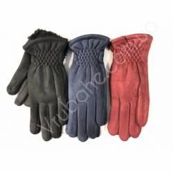 Перчатки женские замш на флисе оптом-47740
