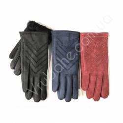 Перчатки женские замш на флисе оптом-47741
