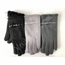Перчатки женские замш на флисе оптом-47742