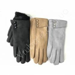 Перчатки женские замш на флисе оптом-47743