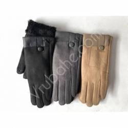 Перчатки женские замш на флисе оптом-47749