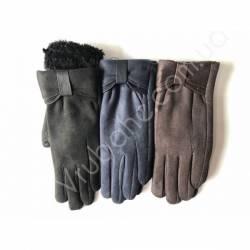 Перчатки женские замш на флисе оптом-47750