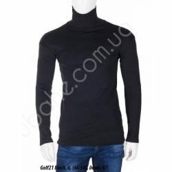 Гольф мужской на флисе с отворотом Черный (46-56) -79291