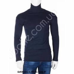 Гольф мужской на флисе с отворотом Темно-синий (46-56) -79292